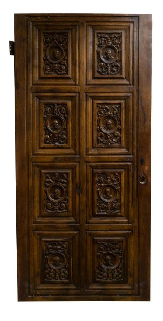 ARCHITECTURAL FIGURAL CARVED PANELED OAK DOOR - 2