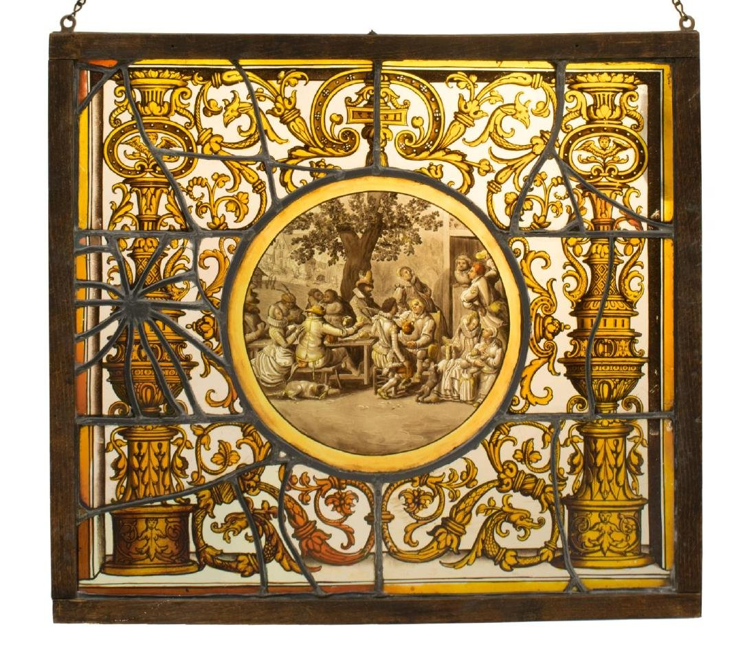 ANTIQUE 19THC. PAINTED & LEADED GLASS WINDOW