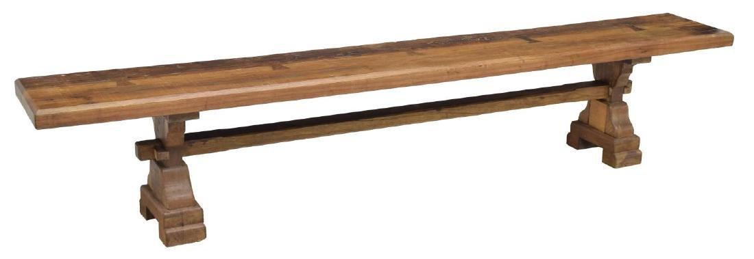 TEAKWOOD LONG TRESTLE BENCH W/ BUTTERFLY JOINERY
