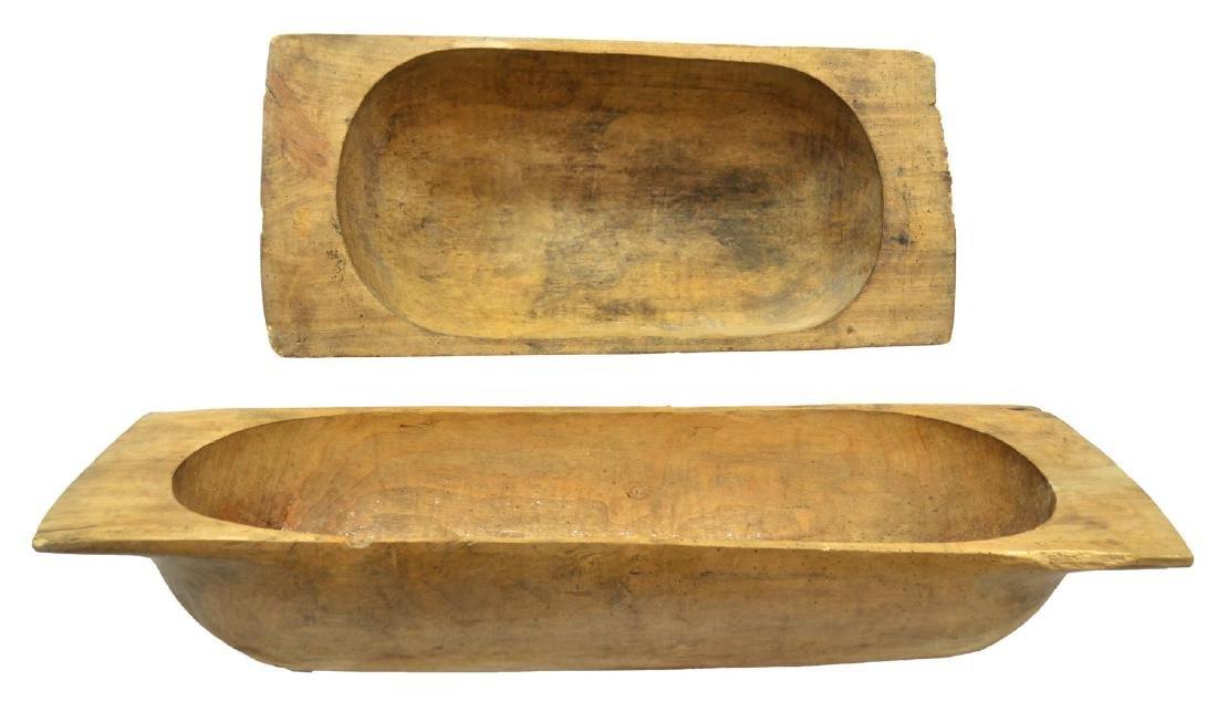 (2) LARGE PRIMITIVE CARVED WOOD DOUGH BOWLS