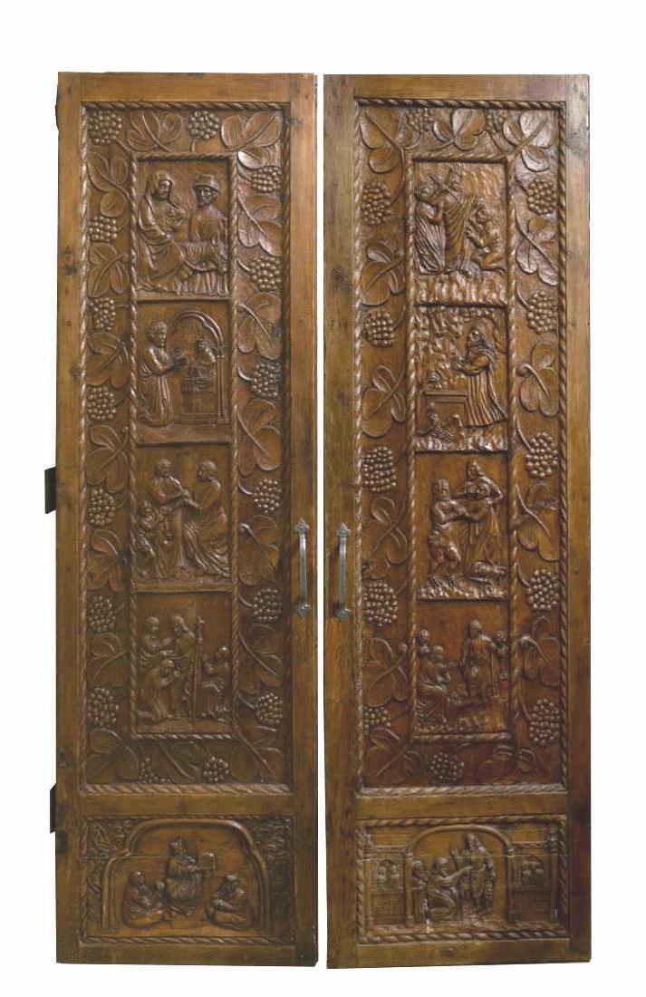 (PR) ARCHITECTURAL ECCLESIASTICAL CARVED DOOR SET