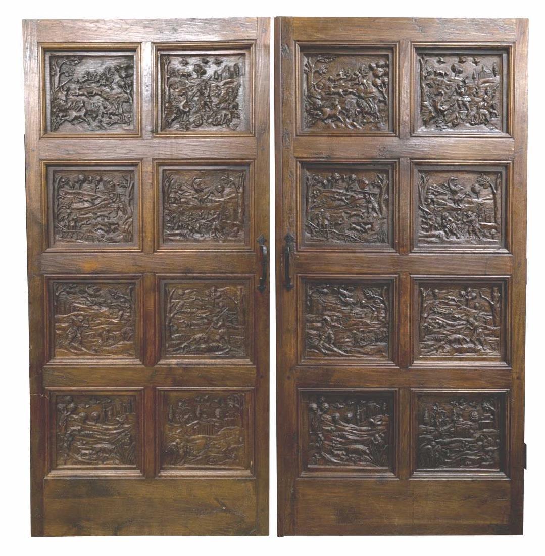 (PR) ARCHITECTURAL FIGURAL HUNT SCENE OAK DOORS