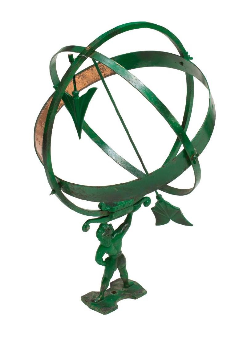 ARCHITECTUAL IRON & COPPER GREEN PAINTED SUNDIAL