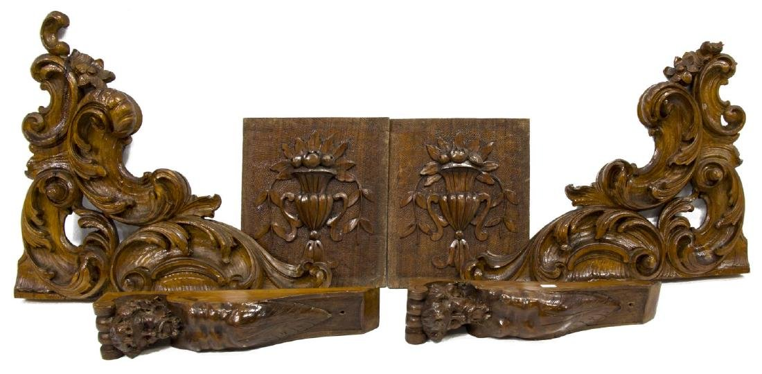 (6) ITALIAN CARVED ARCHITECTURAL ELEMENTS