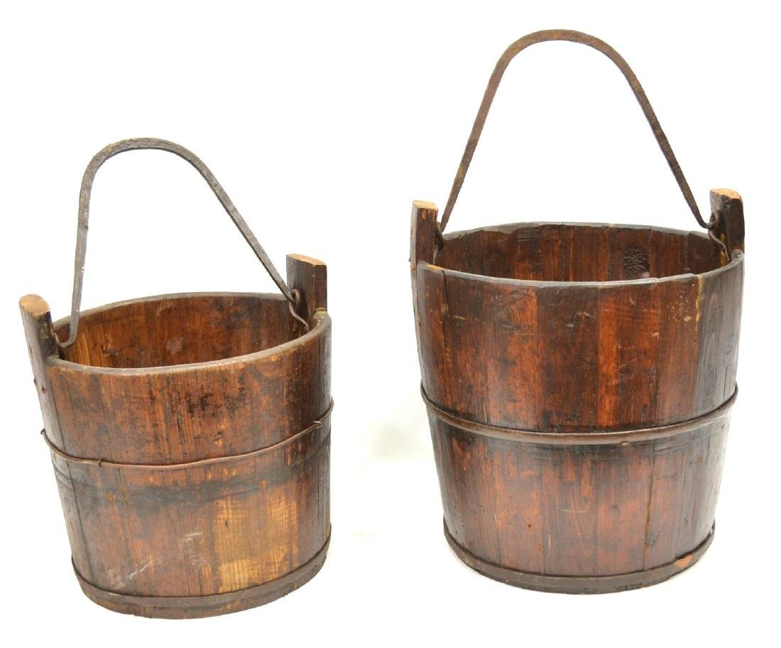 (2) IRON BANDED & SLATTED PINE BUCKETS