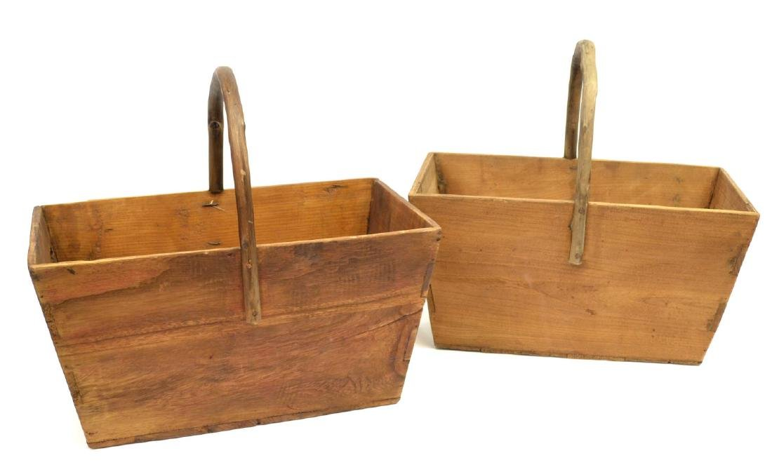 (2) DOVETAILED WOOD & BENTWOOD HANDLE BUCKETS