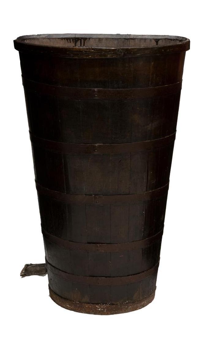 LARGE ITALIAN IRON BOUND SLATTED WOOD GERLA BASKET - 2