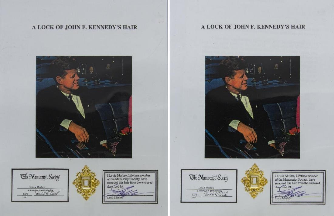 (2) JOHN F. KENNEDY HAIR CLIPPING, CERTIFICATE