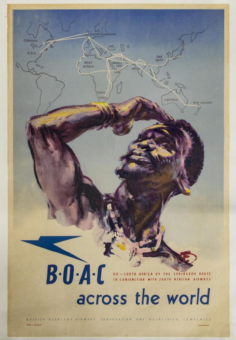 B.O.A.C UK TO SOUTH AFRICA H FORSTER TRAVEL POSTER