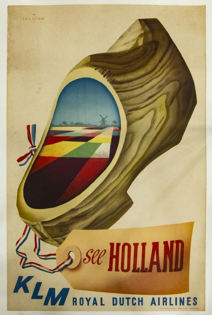 KLM ROYAL DUTCH AIRLINES HOLLAND TRAVEL POSTER
