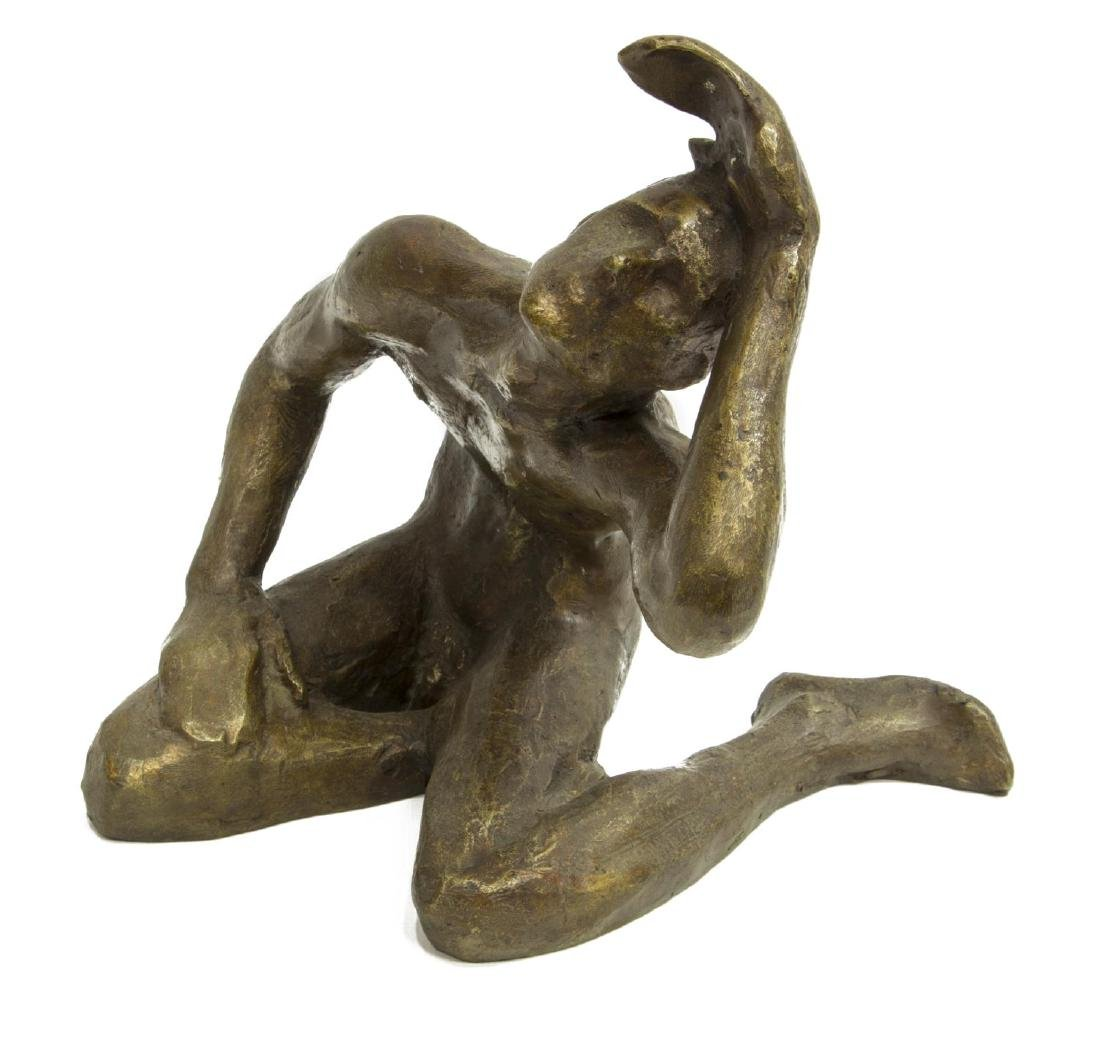 VICTOR SALMONES PATINATED BRONZE SCULPTURE - 3