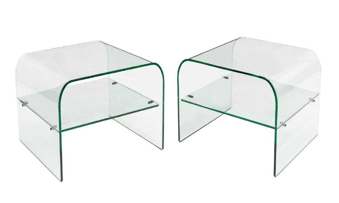 2) AFTER PIEOTRO CHIESA ALL-GLASS SIDE TABLES