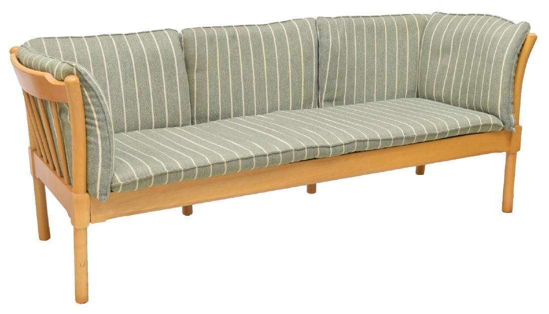 DANISH MODERN THREE SEAT BEECH SOFA