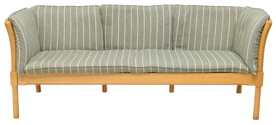 DANISH MODERN THREE SEAT BEECH SOFA - 2