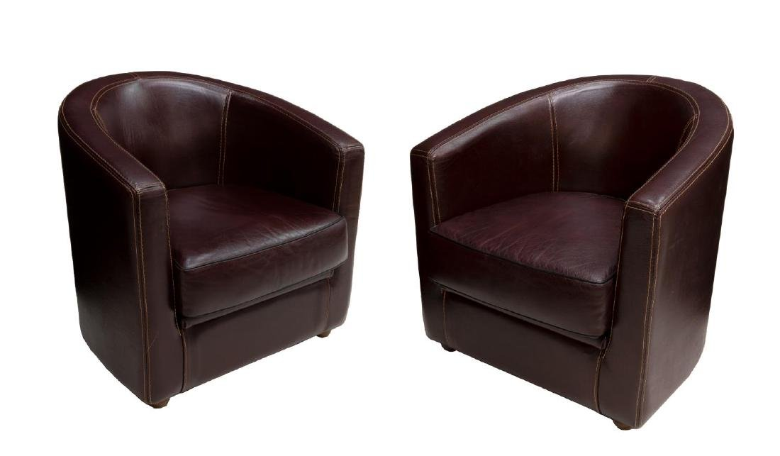 (2) BIANCHI & CO LEATHER BARREL FORM CLUB CHAIRS