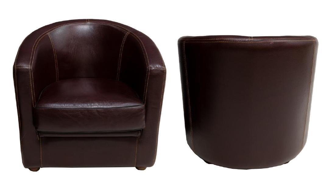 (2) BIANCHI & CO LEATHER BARREL FORM CLUB CHAIRS - 2