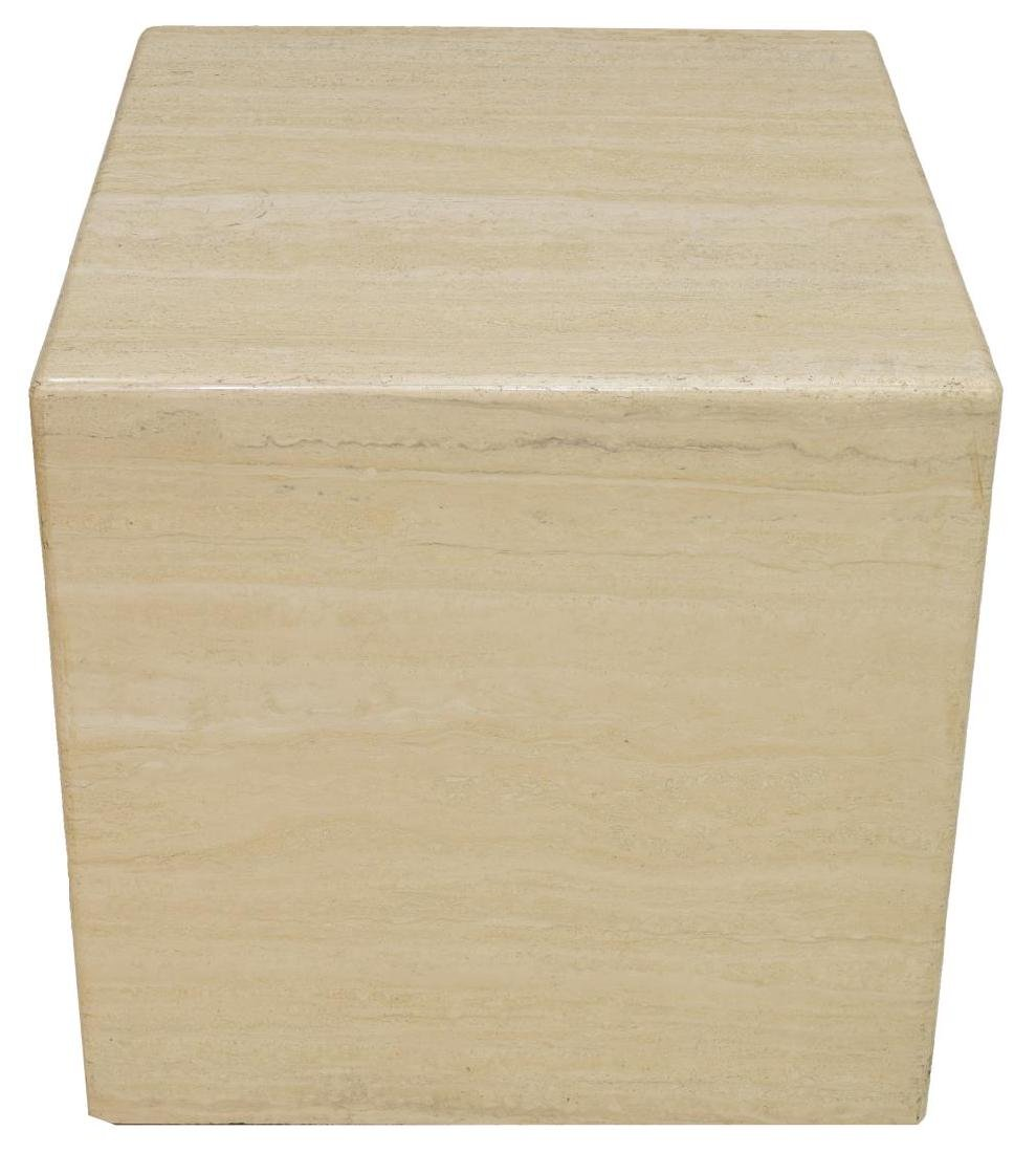 CUBE FORM TRAVERTINE SIDE TABLE - 2