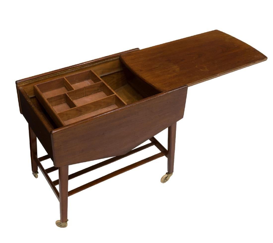 DANISH MID-CENTURY MODERN TEAK SEWING/ TASK TABLE - 2