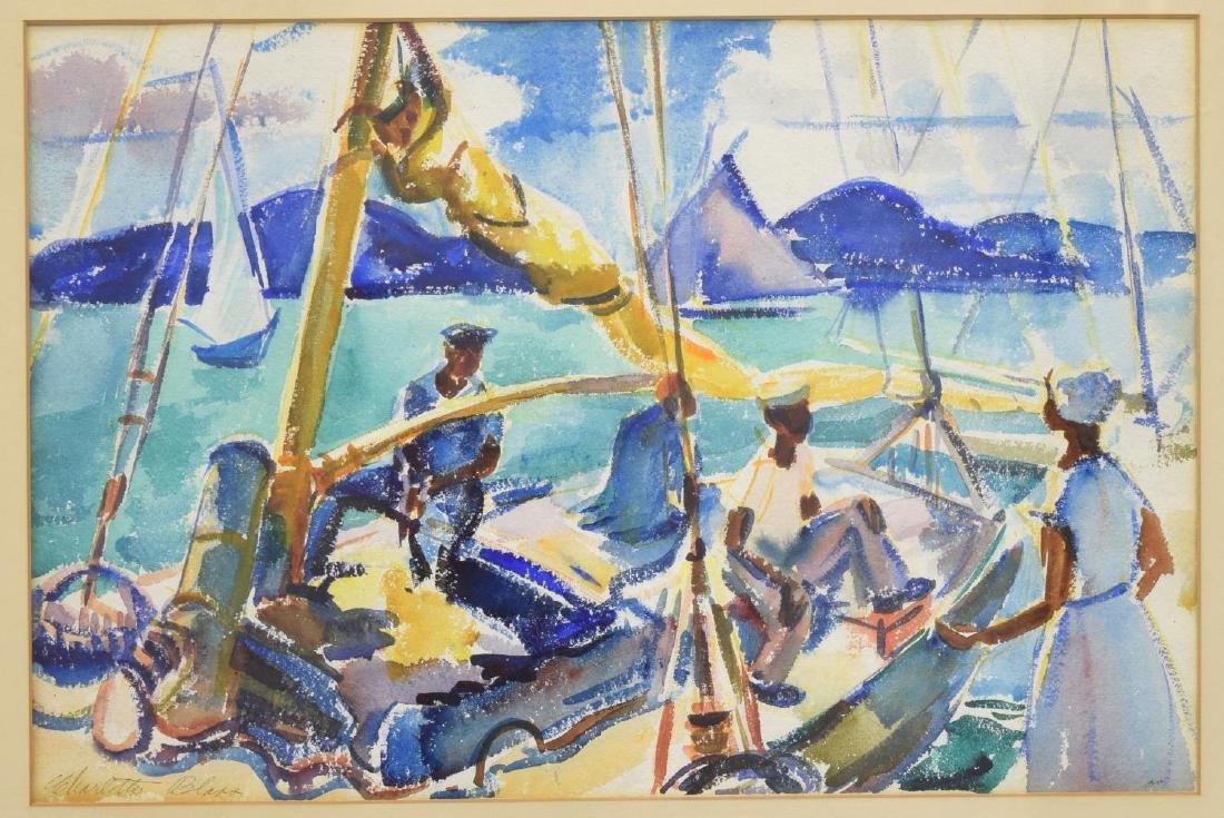 CHARLOTTE BLASS (1908-1980) SAIL BOAT WATERCOLOR