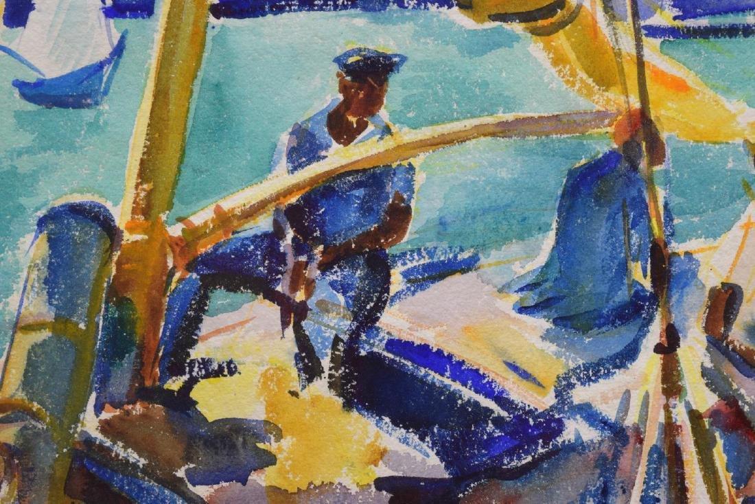 CHARLOTTE BLASS (1908-1980) SAIL BOAT WATERCOLOR - 3