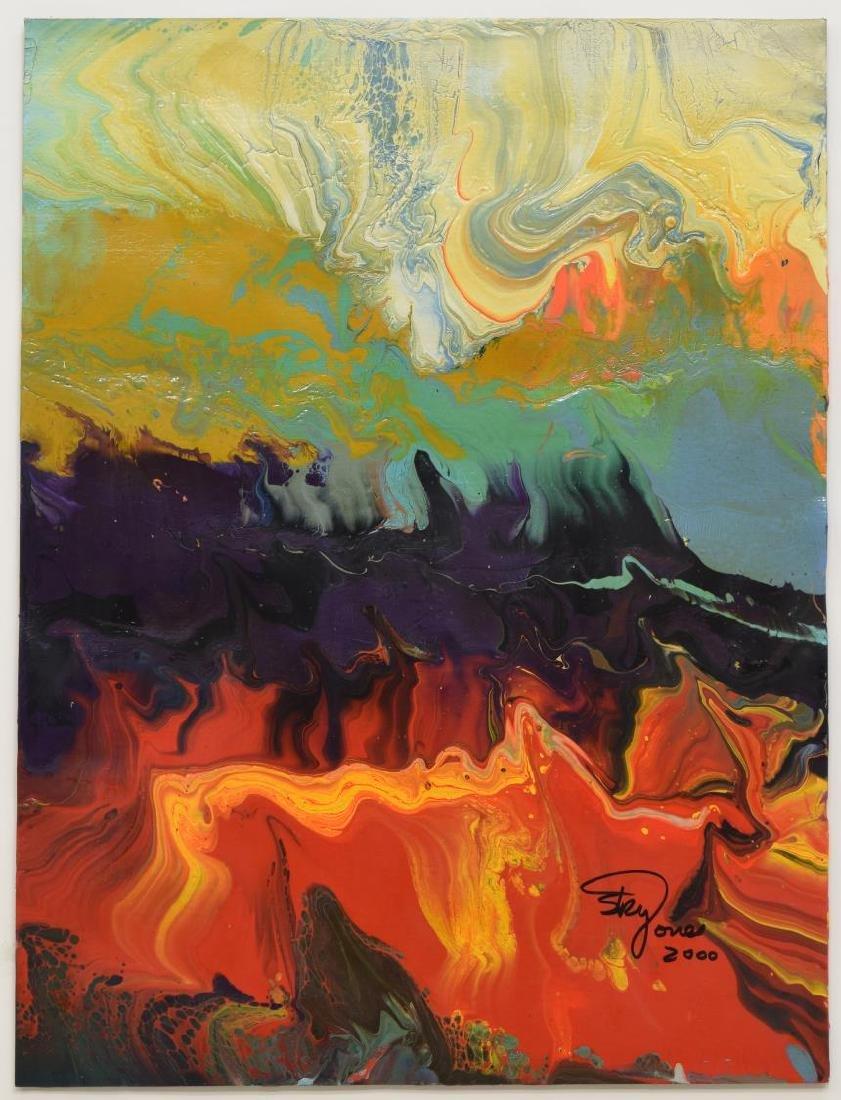 SKY JONES (B.1947) FRAMED MODERN ACRYLIC PAINTING