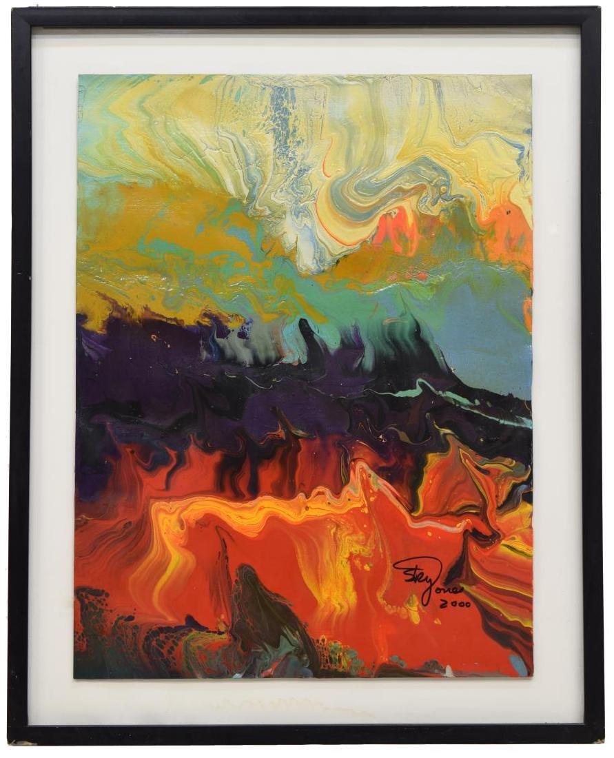 SKY JONES (B.1947) FRAMED MODERN ACRYLIC PAINTING - 2