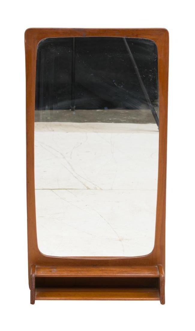 DANISH MID-CENTURY MODERN TEAK WALL MIRROR - 2