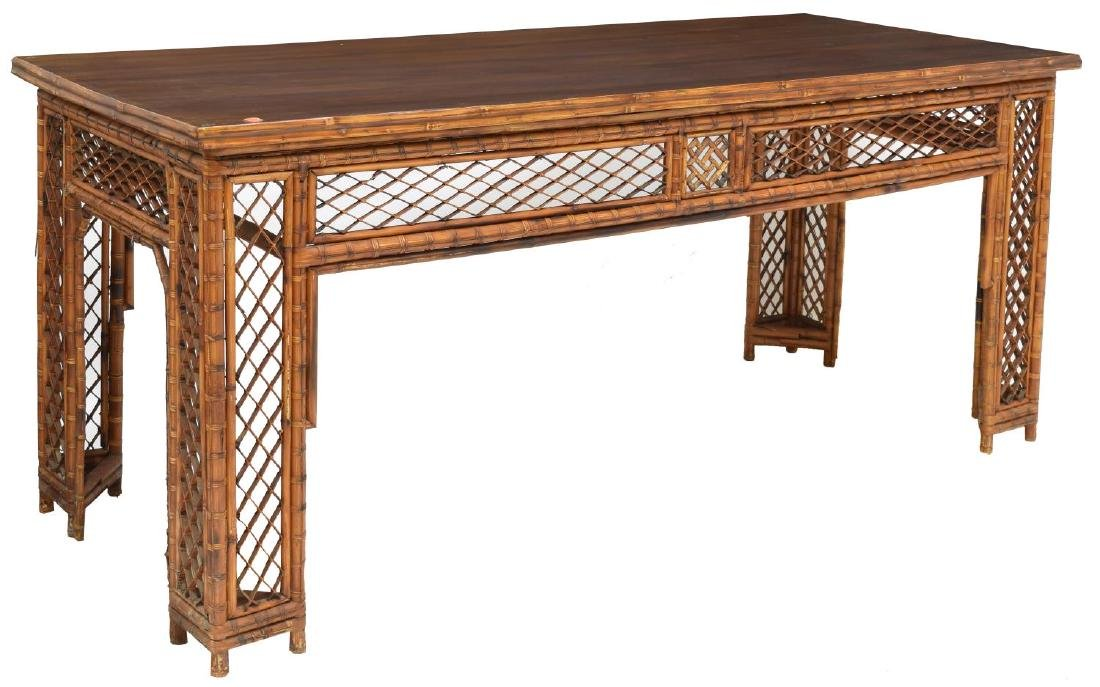 LARGE ANTIQUE CHINESE PIERCED BAMBOO TABLE