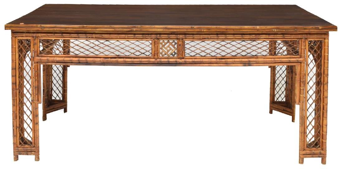 LARGE ANTIQUE CHINESE PIERCED BAMBOO TABLE - 2