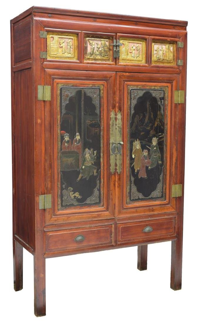 CHINESE ELMWOOD FIGURAL CARVED CABINET