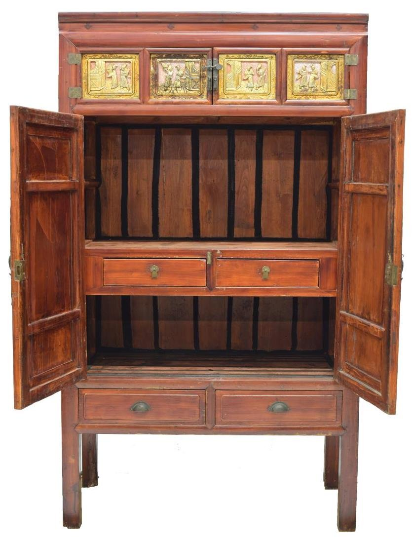 CHINESE ELMWOOD FIGURAL CARVED CABINET - 2