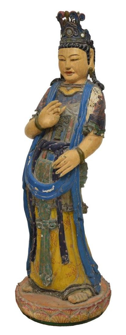 CHINESE CARVED & PAINTED STANDING GODDESS FIGURE