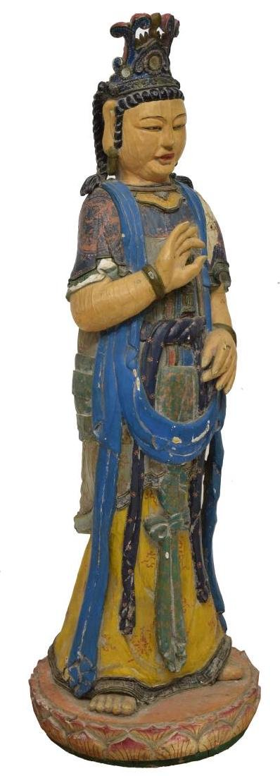 CHINESE CARVED & PAINTED STANDING GODDESS FIGURE - 2