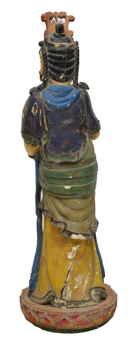 CHINESE CARVED & PAINTED STANDING GODDESS FIGURE - 3
