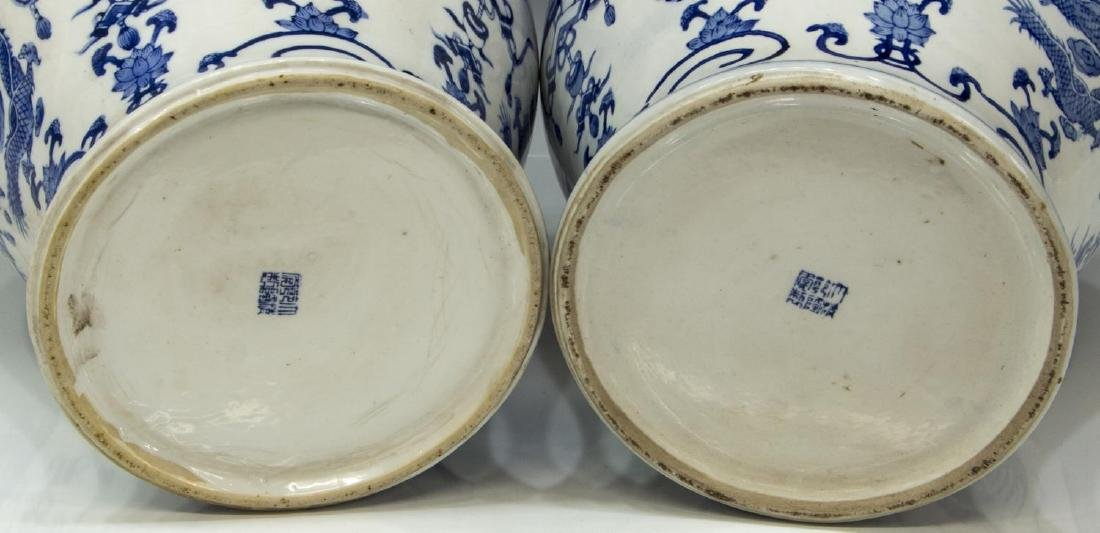 (2) CHINESE BLUE & WHITE PORCELAIN TEMPLE JARS - 3