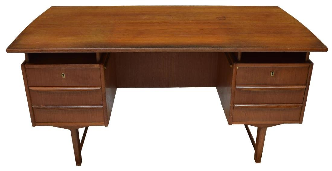 DANISH MID-CENTURY MODERN TEAKWOOD WRITING DESK - 2