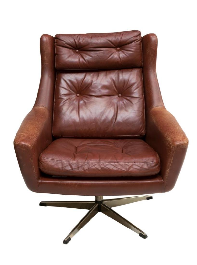 DANISH MID-CENTURY MODERN LEATHER LOUNGE ARMCHAIR - 2