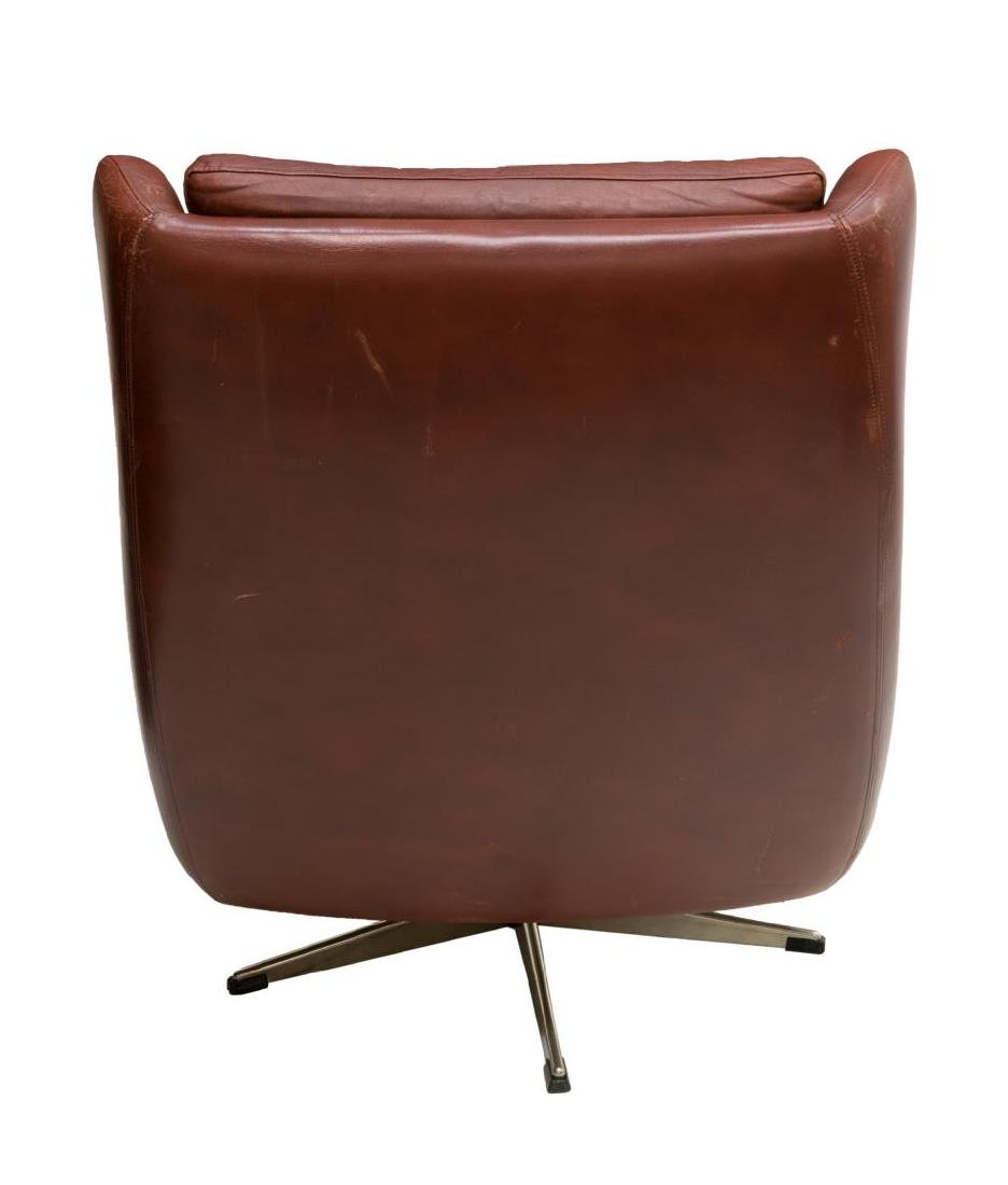 DANISH MID-CENTURY MODERN LEATHER LOUNGE ARMCHAIR - 3