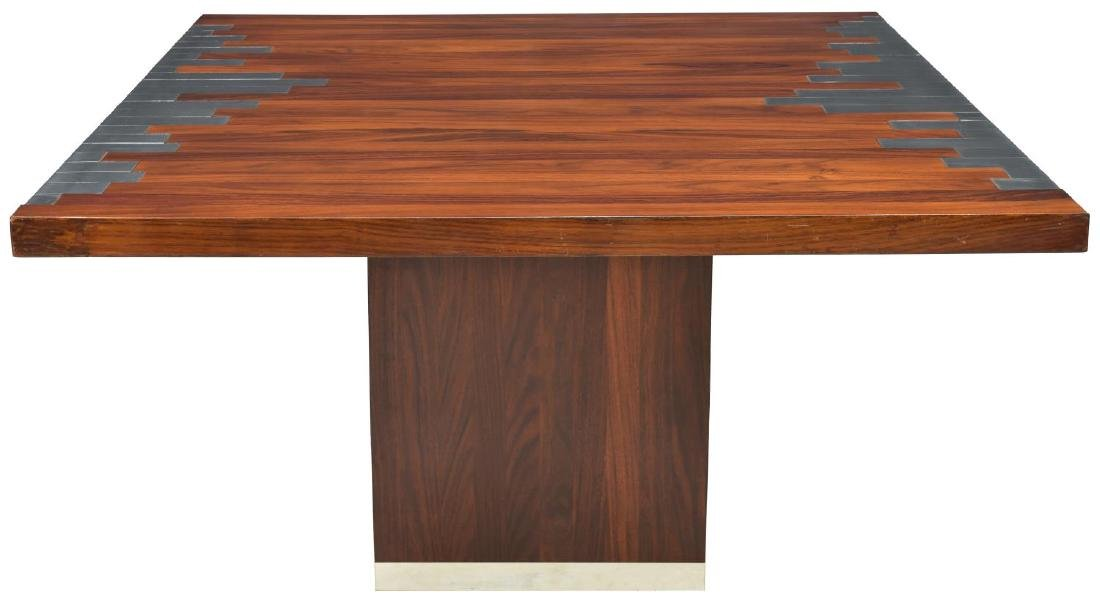 ITALIAN MODERN ROSEWOOD & METAL ACCENTED TABLE - 2