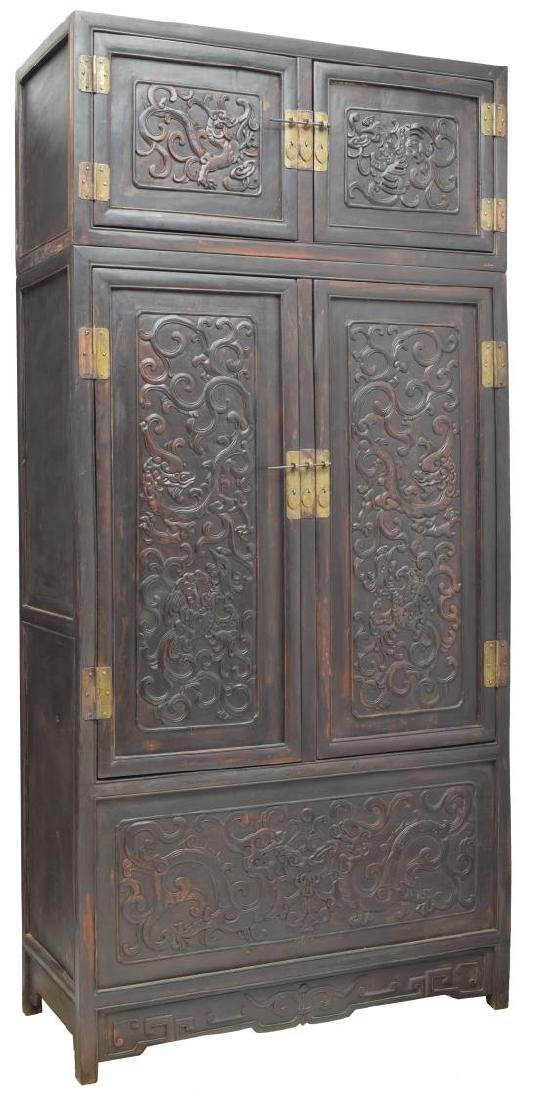 LARGE CHINESE CARVED WOOD CABINET, DRAGON/PHOENIX