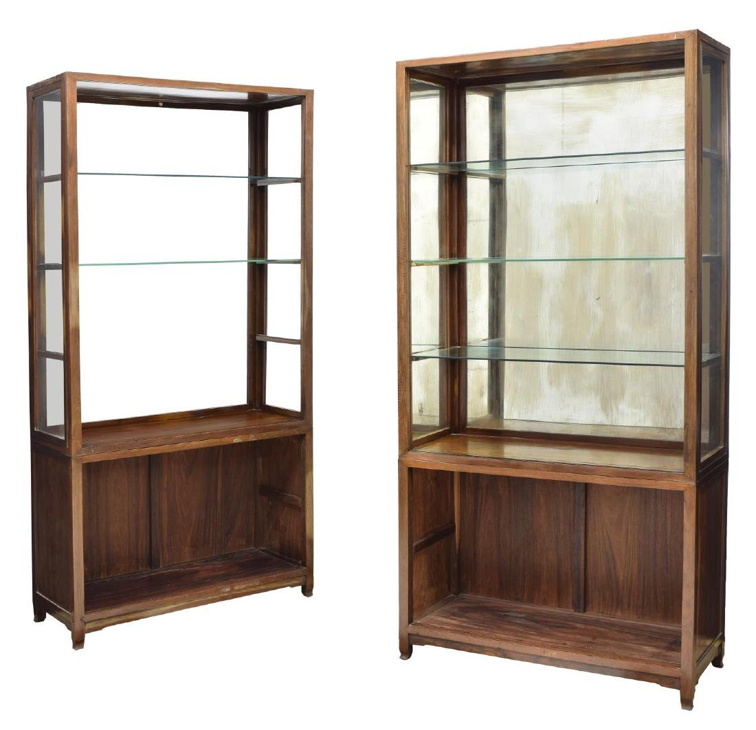 (2) ANTIQUE ROSEWOOD GLASS SHELVES CABINET