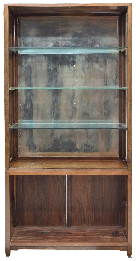 (2) ANTIQUE ROSEWOOD GLASS SHELVES CABINET - 2
