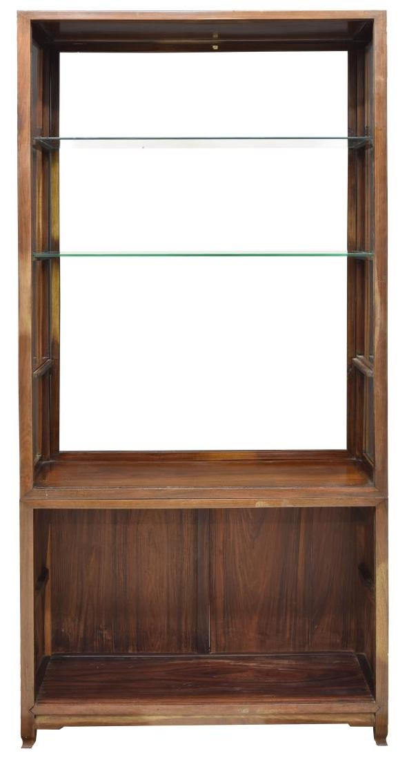 (2) ANTIQUE ROSEWOOD GLASS SHELVES CABINET - 3