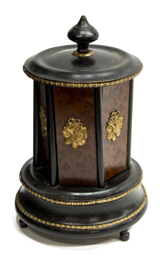 CONTINENTAL GILT METAL MOUNTED BURLED CIGAR BOX