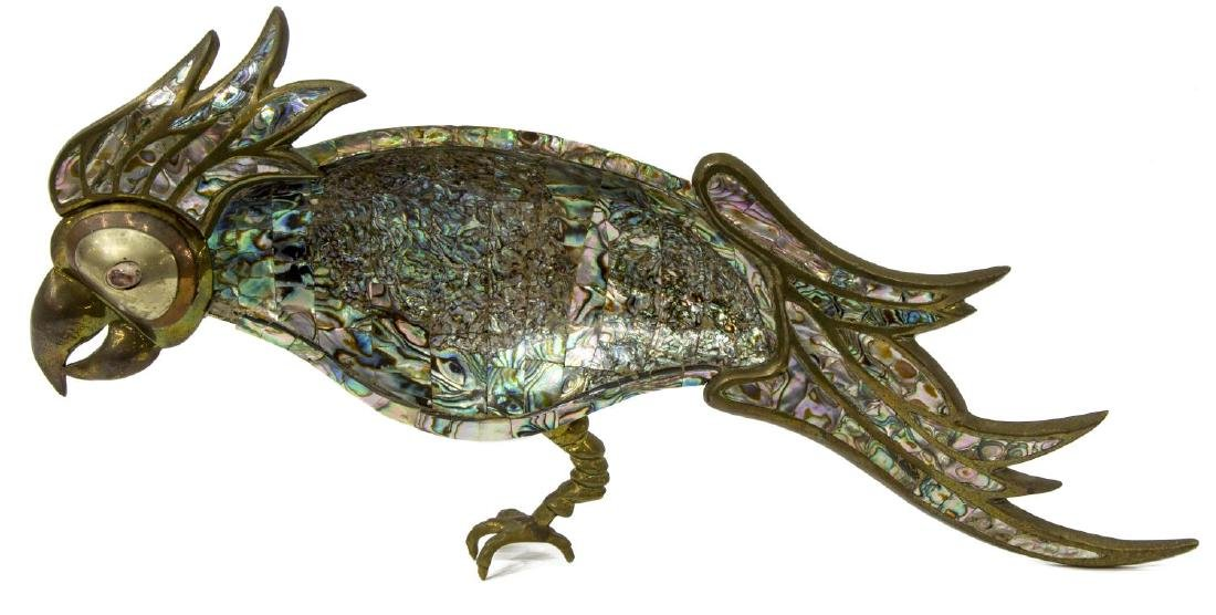 MEXICAN METAL AND ABALONE PARROT DISH