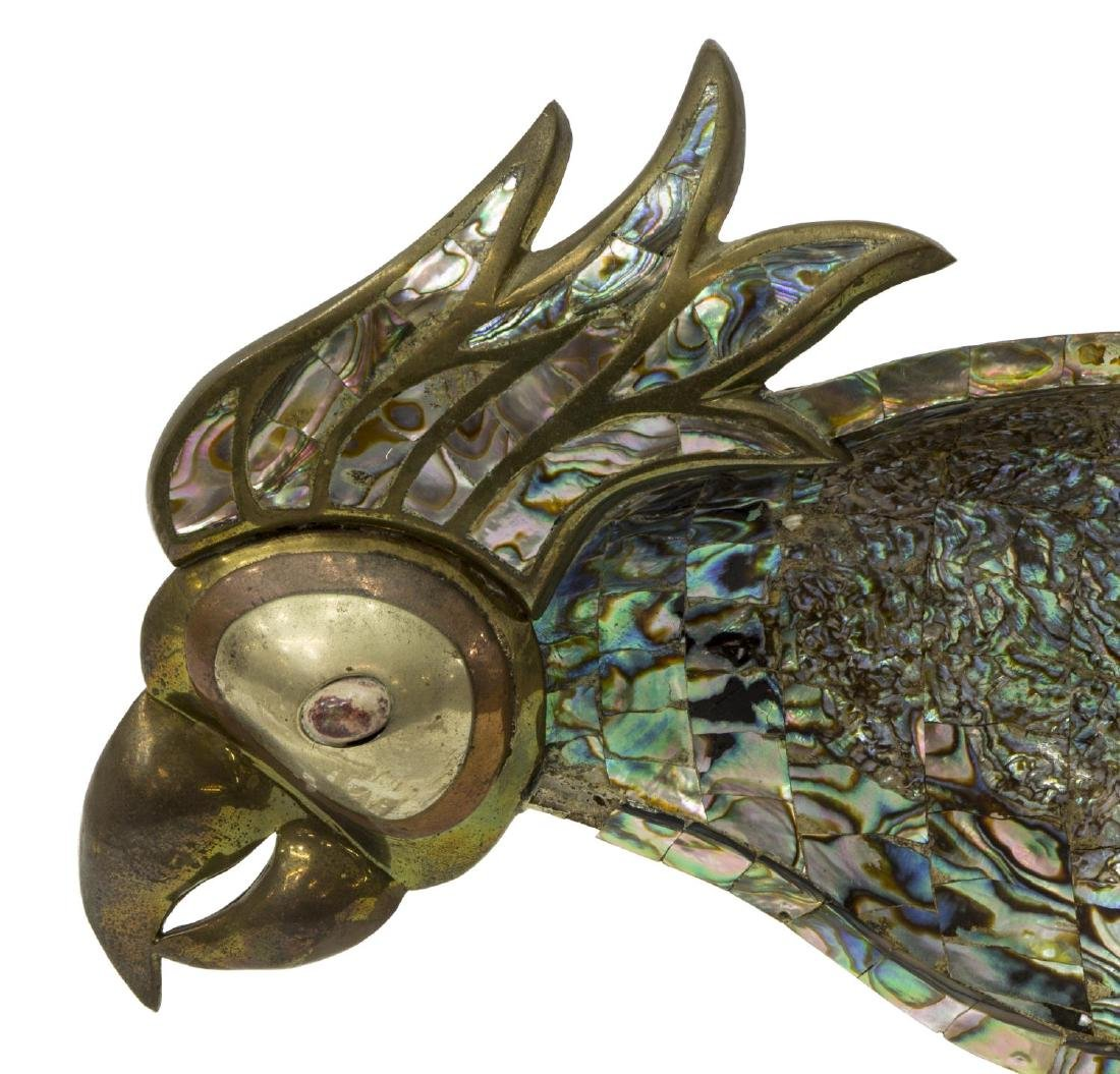 MEXICAN METAL AND ABALONE PARROT DISH - 2