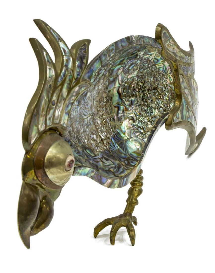 MEXICAN METAL AND ABALONE PARROT DISH - 3