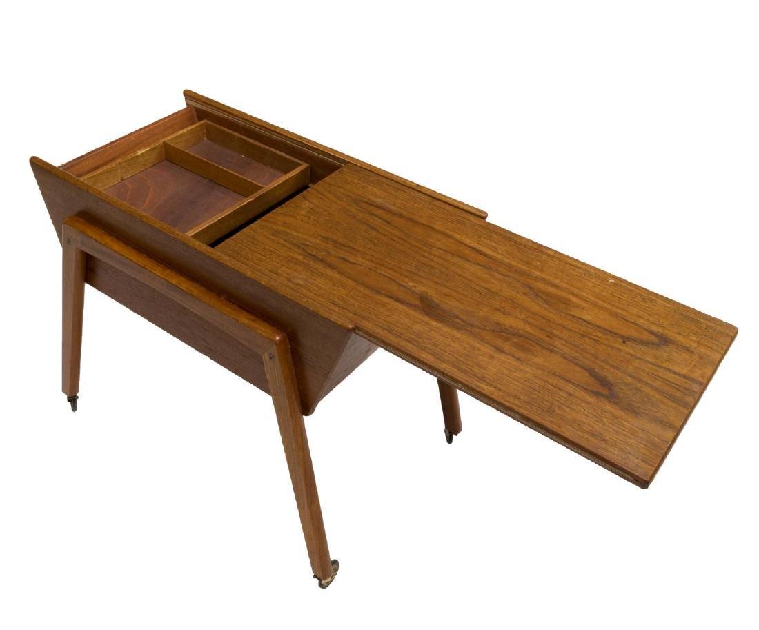 DANISH MID-CENTURY MODERN TEAK SEWING/ TASK TABLE - 2