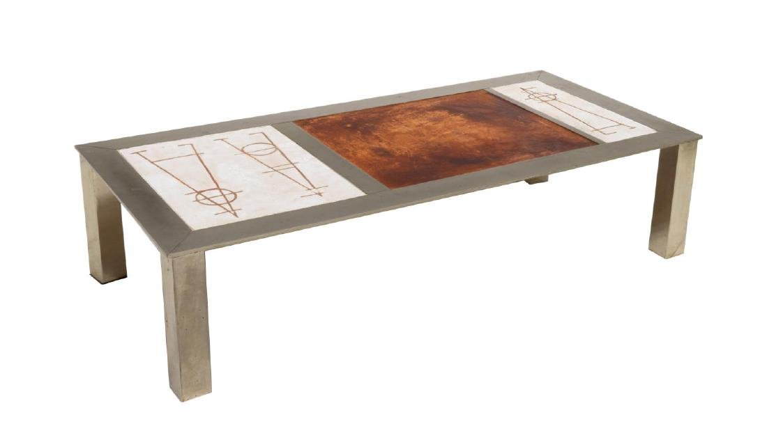 FRENCH INDUSTRIAL MODERN LOW SOFA TABLE