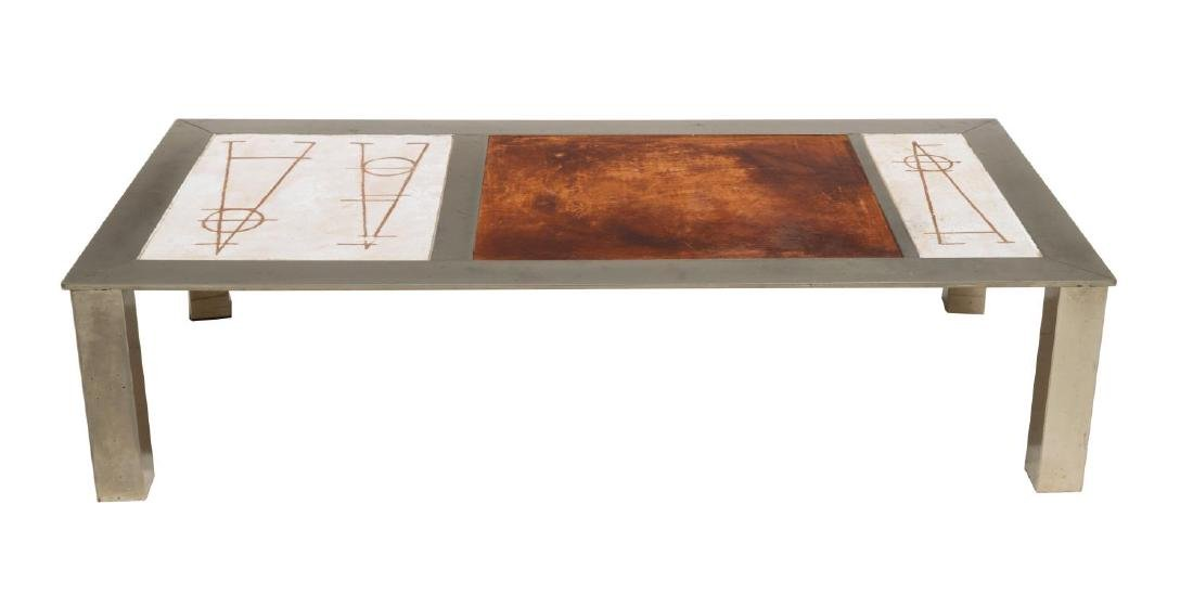 FRENCH INDUSTRIAL MODERN LOW SOFA TABLE - 2